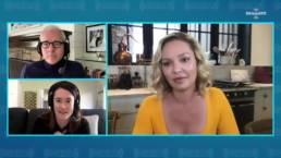 Jess Cagle (Top Left), Julia Cunningham (Bottom Left) Interviewing Katherine Heigl (Right) Via Zoom On SiriusXM The Jess Cagle Show